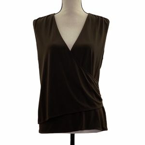 George Stretch Brown Wrap Blouse Size large
